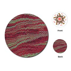 Scaly Pattern Colour Green Pink Playing Cards (round)