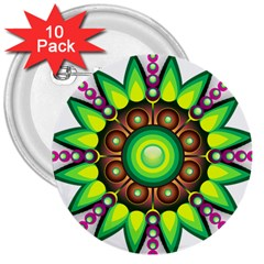 Design Elements Star Flower Floral Circle 3  Buttons (10 Pack)