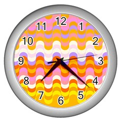 Dna Early Childhood Wave Chevron Rainbow Color Wall Clocks (silver)