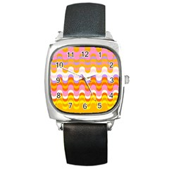Dna Early Childhood Wave Chevron Rainbow Color Square Metal Watch