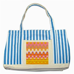 Dna Early Childhood Wave Chevron Rainbow Color Striped Blue Tote Bag
