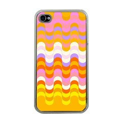Dna Early Childhood Wave Chevron Rainbow Color Apple Iphone 4 Case (clear)