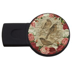Vintage birds USB Flash Drive Round (2 GB)
