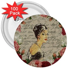 Vintage girl 3  Buttons (100 pack)