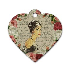 Vintage girl Dog Tag Heart (Two Sides)