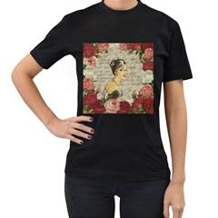 Vintage girl Women s T-Shirt (Black)