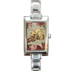 Vintage kitten  Rectangle Italian Charm Watch