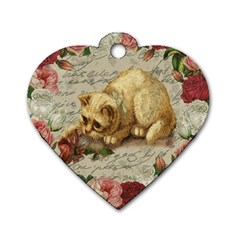 Vintage kitten  Dog Tag Heart (Two Sides)