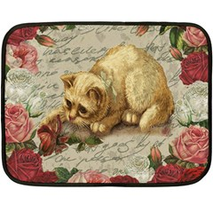 Vintage kitten  Double Sided Fleece Blanket (Mini)
