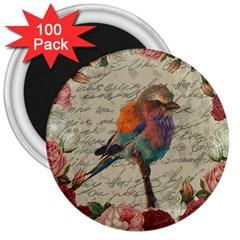Vintage bird 3  Magnets (100 pack)