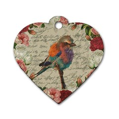 Vintage bird Dog Tag Heart (Two Sides)