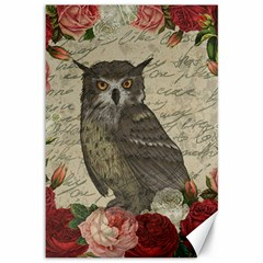 Vintage owl Canvas 12  x 18