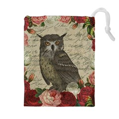 Vintage owl Drawstring Pouches (Extra Large)