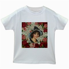 Vintage girl Kids White T-Shirts
