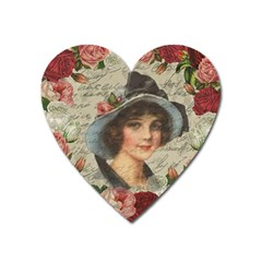 Vintage girl Heart Magnet