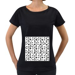 Seahorse pattern Women s Loose-Fit T-Shirt (Black)