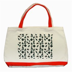 Seahorse pattern Classic Tote Bag (Red)