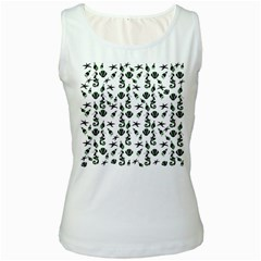 Seahorse pattern Women s White Tank Top