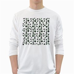 Seahorse pattern White Long Sleeve T-Shirts