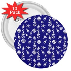 Seahorse pattern 3  Buttons (10 pack)