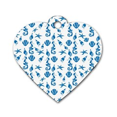 Seahorse pattern Dog Tag Heart (Two Sides)