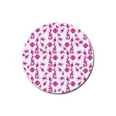 Seahorse pattern Rubber Coaster (Round)