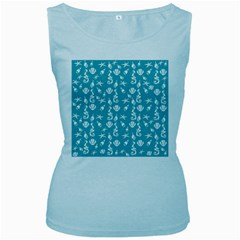 Seahorse pattern Women s Baby Blue Tank Top
