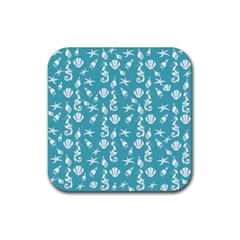 Seahorse pattern Rubber Square Coaster (4 pack)