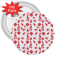 Seahorse pattern 3  Buttons (100 pack)