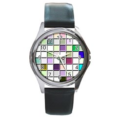 Color Tiles Abstract Mosaic Background Round Metal Watch