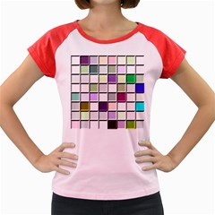 Color Tiles Abstract Mosaic Background Women s Cap Sleeve T-Shirt