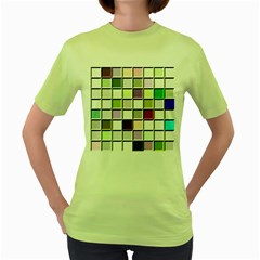 Color Tiles Abstract Mosaic Background Women s Green T-Shirt