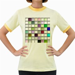 Color Tiles Abstract Mosaic Background Women s Fitted Ringer T Shirts
