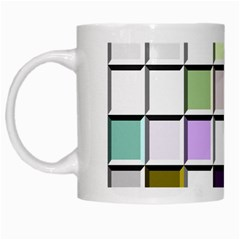 Color Tiles Abstract Mosaic Background White Mugs