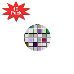 Color Tiles Abstract Mosaic Background 1  Mini Buttons (10 Pack)