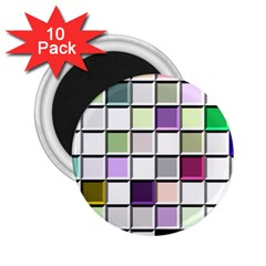 Color Tiles Abstract Mosaic Background 2 25  Magnets (10 Pack)