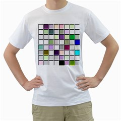 Color Tiles Abstract Mosaic Background Men s T Shirt (white) (two Sided)