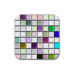 Color Tiles Abstract Mosaic Background Rubber Coaster (square)