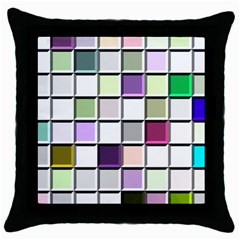 Color Tiles Abstract Mosaic Background Throw Pillow Case (black)