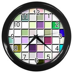 Color Tiles Abstract Mosaic Background Wall Clocks (Black)