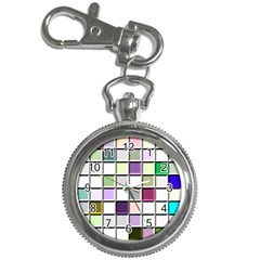Color Tiles Abstract Mosaic Background Key Chain Watches