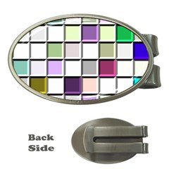 Color Tiles Abstract Mosaic Background Money Clips (Oval)