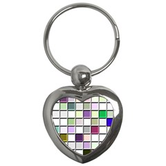 Color Tiles Abstract Mosaic Background Key Chains (heart)