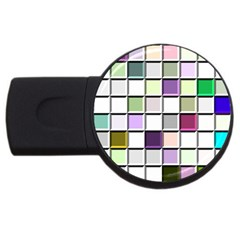 Color Tiles Abstract Mosaic Background USB Flash Drive Round (2 GB)