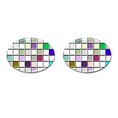 Color Tiles Abstract Mosaic Background Cufflinks (oval)