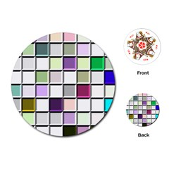 Color Tiles Abstract Mosaic Background Playing Cards (round)