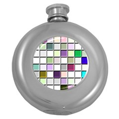 Color Tiles Abstract Mosaic Background Round Hip Flask (5 Oz)