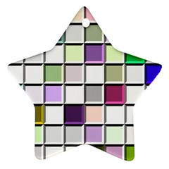 Color Tiles Abstract Mosaic Background Star Ornament (two Sides)