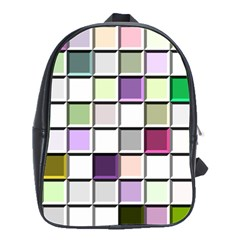 Color Tiles Abstract Mosaic Background School Bags(large)