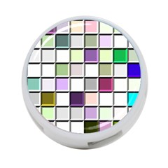 Color Tiles Abstract Mosaic Background 4-Port USB Hub (One Side)